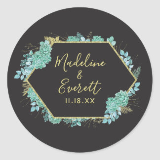 Succulents Gold Frame Any Color Monogram Wedding Classic Round Sticker