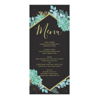 Succulents Gold Frame Any Color Wedding Menu