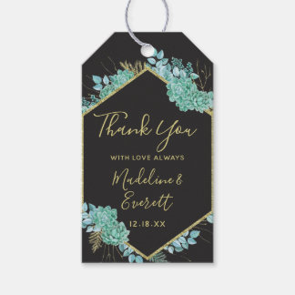 Succulents Gold Frame Any Color Wedding Thank You Gift Tags
