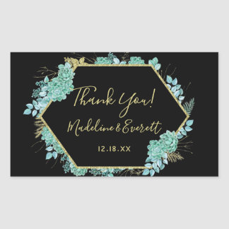 Succulents Gold Frame Any Color Wedding Thank You Sticker