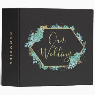 Succulents Gold Frame Elegant Wedding Photo Album 3 Ring Binders