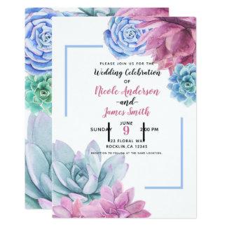Succulents Modern Chic Watercolor Wedding Fiesta Card