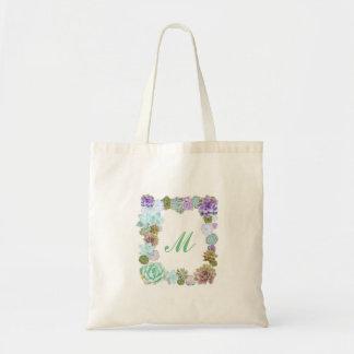 Succulents monogram tote bag