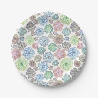Succulents paper plate