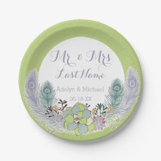 Succulents Peacock Feathers Wedding Paper Plates