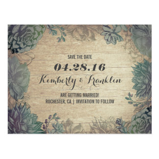 Succulents Rustic Floral Save the Date Postcard