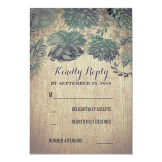 Succulents Rustic Wedding RSVP Cards