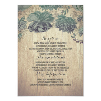 Succulents Rustic Wood Wedding Details Card