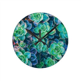 Succulents, Succulent, Cactus, Cacti, Green, Plant Round Clock