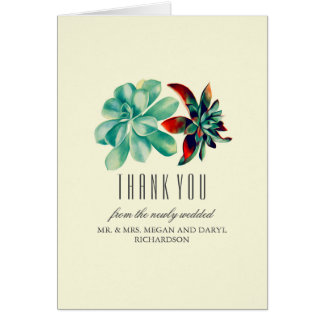 Succulents Teal Wedding Thank You Card