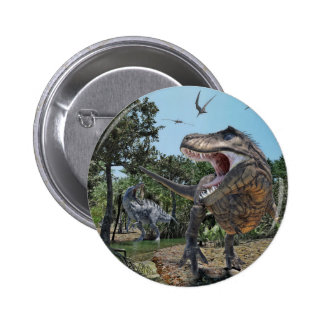 Suchomimus and Tyrannosaurus Rex Confrontation 2 Inch Round Button
