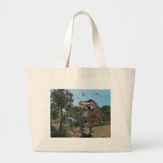 Suchomimus and Tyrannosaurus Rex Confrontation Large Tote Bag