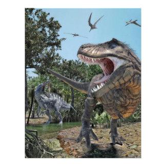 Suchomimus and Tyrannosaurus Rex Confrontation Letterhead