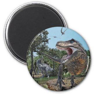 Suchomimus and Tyrannosaurus Rex Confrontation Magnet