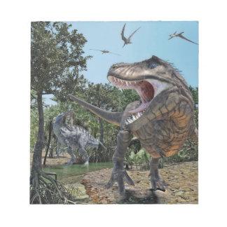 Suchomimus and Tyrannosaurus Rex Confrontation Notepad