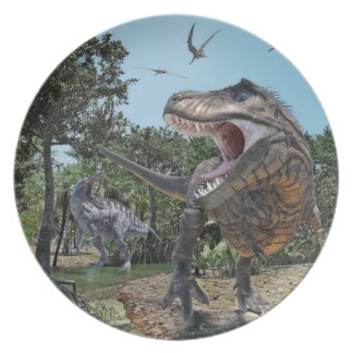 Suchomimus and Tyrannosaurus Rex Confrontation Plate