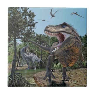 Suchomimus and Tyrannosaurus Rex Confrontation Tile
