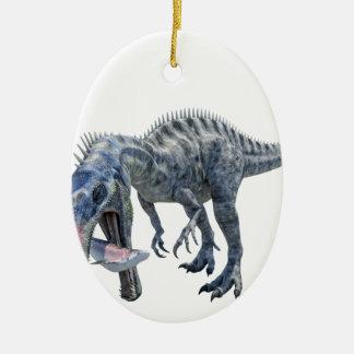 Suchomimus Dinosaur Eating a Shark Ceramic Ornament