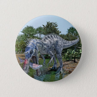 Suchomimus Dinosaur Eating a Shark in a Swamp 2 Inch Round Button
