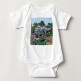 Suchomimus Dinosaur Eating a Shark in a Swamp Baby Bodysuit