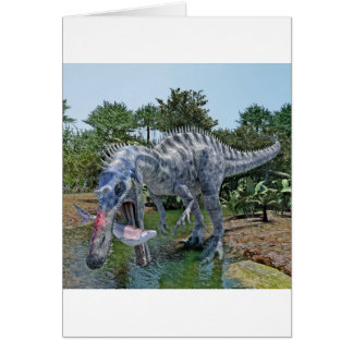 Suchomimus Dinosaur Eating a Shark in a Swamp Card