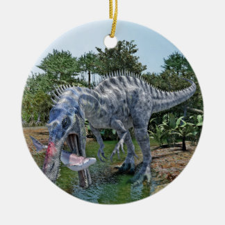 Suchomimus Dinosaur Eating a Shark in a Swamp Ceramic Ornament
