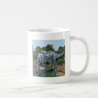 Suchomimus Dinosaur Eating a Shark in a Swamp Coffee Mug