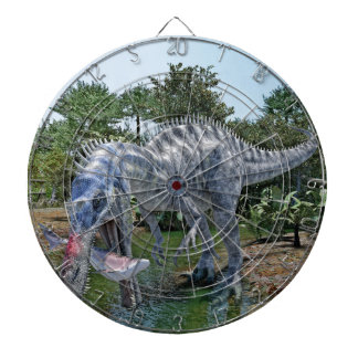Suchomimus Dinosaur Eating a Shark in a Swamp Dartboards