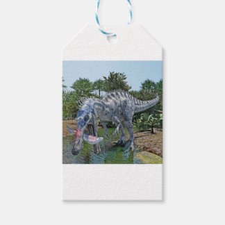 Suchomimus Dinosaur Eating a Shark in a Swamp Gift Tags