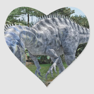 Suchomimus Dinosaur Eating a Shark in a Swamp Heart Sticker