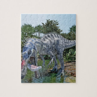 Suchomimus Dinosaur Eating a Shark in a Swamp Jigsaw Puzzle