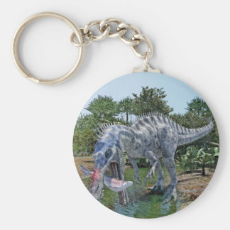 Suchomimus Dinosaur Eating a Shark in a Swamp Keychain