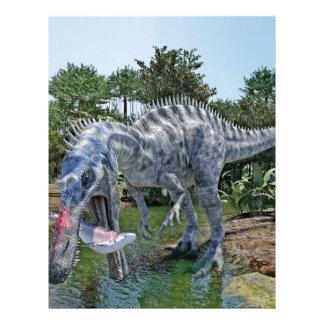 Suchomimus Dinosaur Eating a Shark in a Swamp Letterhead