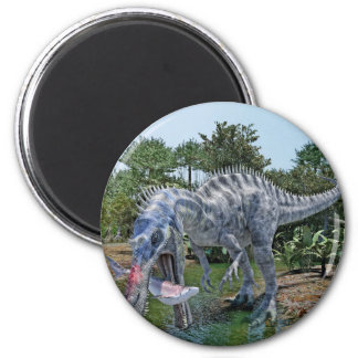 Suchomimus Dinosaur Eating a Shark in a Swamp Magnet