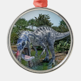 Suchomimus Dinosaur Eating a Shark in a Swamp Metal Ornament