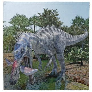 Suchomimus Dinosaur Eating a Shark in a Swamp Napkin