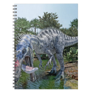 Suchomimus Dinosaur Eating a Shark in a Swamp Notebooks