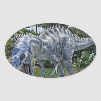 Suchomimus Dinosaur Eating a Shark in a Swamp Oval Sticker