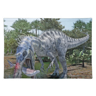 Suchomimus Dinosaur Eating a Shark in a Swamp Placemat