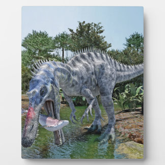 Suchomimus Dinosaur Eating a Shark in a Swamp Plaque
