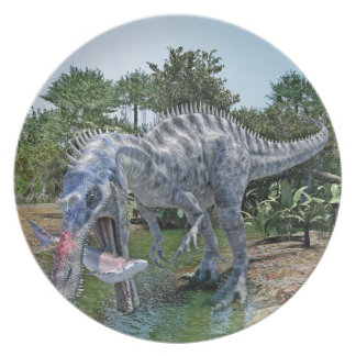 Suchomimus Dinosaur Eating a Shark in a Swamp Plate