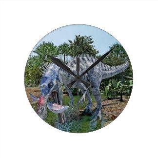 Suchomimus Dinosaur Eating a Shark in a Swamp Round Clock