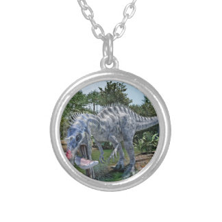 Suchomimus Dinosaur Eating a Shark in a Swamp Silver Plated Necklace