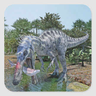Suchomimus Dinosaur Eating a Shark in a Swamp Square Sticker