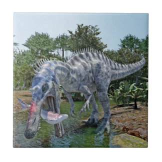 Suchomimus Dinosaur Eating a Shark in a Swamp Tile