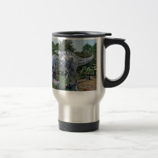 Suchomimus Dinosaur Eating a Shark in a Swamp Travel Mug