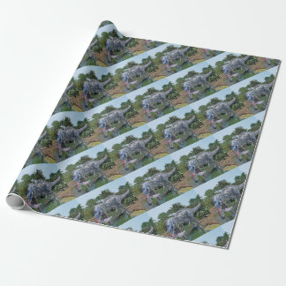 Suchomimus Dinosaur Eating a Shark in a Swamp Wrapping Paper