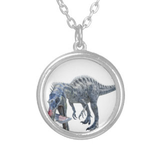 Suchomimus Dinosaur Eating a Shark Silver Plated Necklace