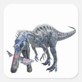 Suchomimus Dinosaur Eating a Shark Square Sticker