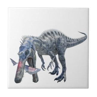 Suchomimus Dinosaur Eating a Shark Tile